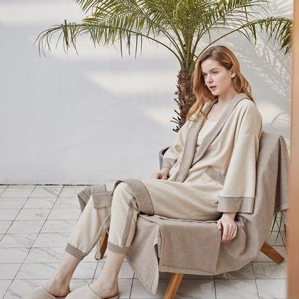 Homewear - Cashmere undyed robe - SANDRIVER CASHMERE