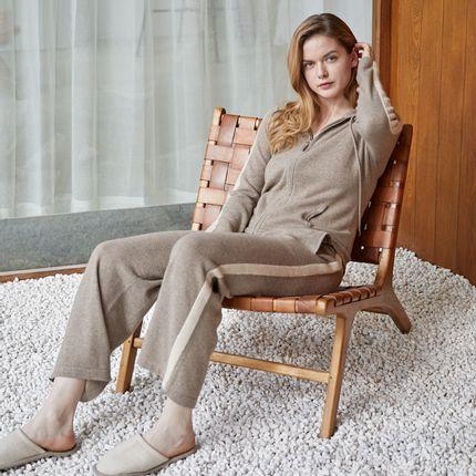 Homewear - Un-dyed cashmere wide leg trousers - SANDRIVER CASHMERE