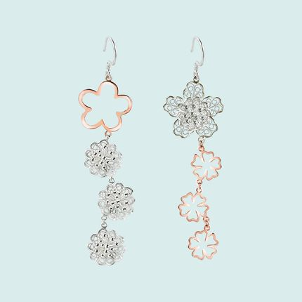 Jewelry - Blossoms Silver Filigree Rose Gold Earrings - WEI YEE