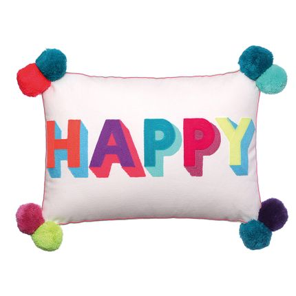 Coussins - Coussin brodé HAPPY Multicolore - BOMBAY DUCK