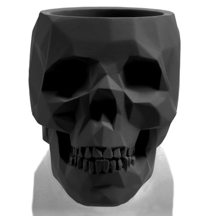 Flower pots - CONCRETE FLOWER POT SKULL M BLACK MATT - CONCRETTE