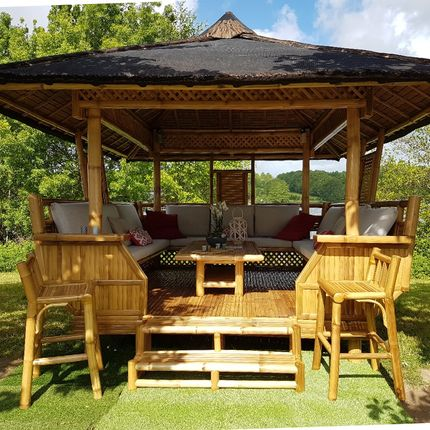 Gazebos - PALAWAN - Paillote bambou 14 Places - NIPAHUT SARL