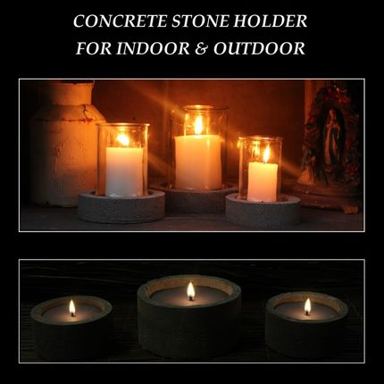 Decorative objects - Concrete with Glass & Candle - HOUSE OF RUSTIC APS