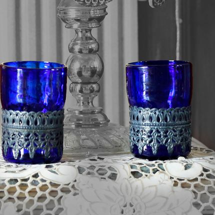 Candlesticks / candle holders - Alexa Recycled Glass Cup - MAISON ZOE