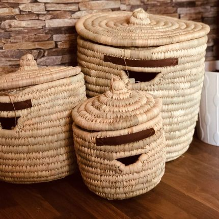 Storage - Round Palm Basket Set of 3 - MAISON ZOE