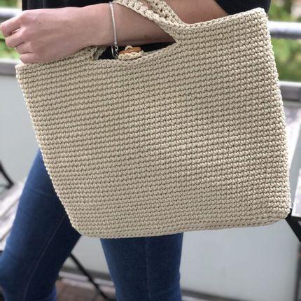 Bags / totes - Handbag Monac Crocheted Beige - MAISON ZOE