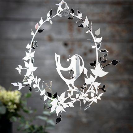 Design objects - Bird in Flower Wreath, Silver, small - JETTE FRÖLICH DESIGN