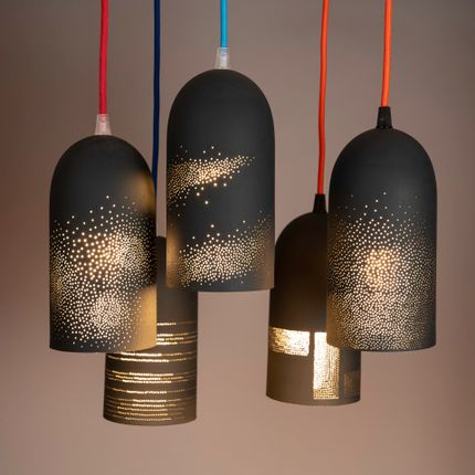 Hanging lights - perforated black porcelain suspended lighting - JEAN-MARC FONDIMARE