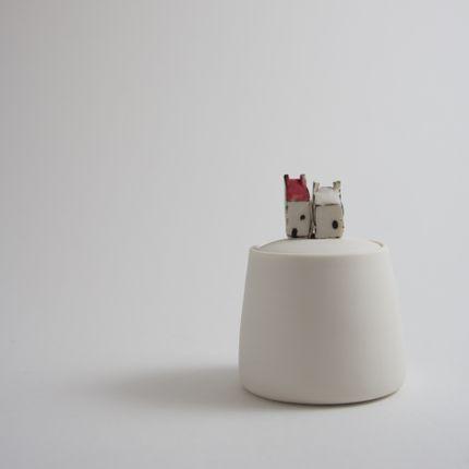 Bowls - Small Jar with mini houses - BÉRANGÈRE CÉRAMIQUES