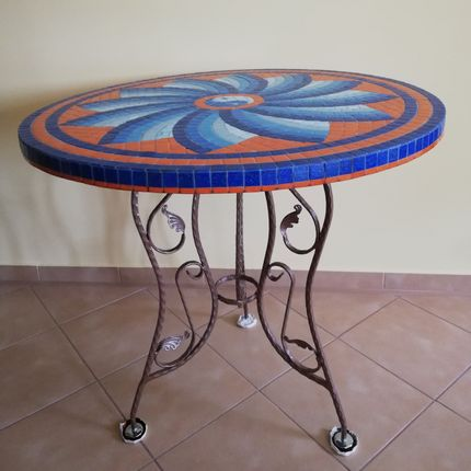 Tables - Mosaic round table  - IRON ART MOZAIC
