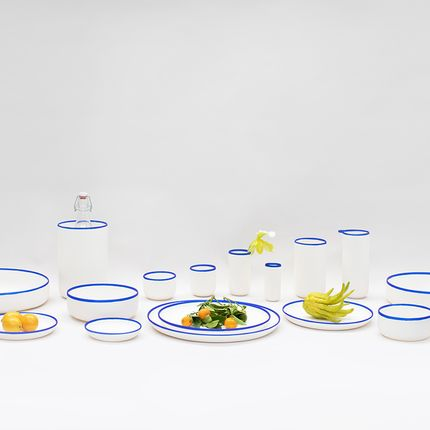 Platter, bowls - Modern Tableware Collection - Cobalt Blue Rim & Red Rim - TINA FREY DESIGNS - TF DESIGN