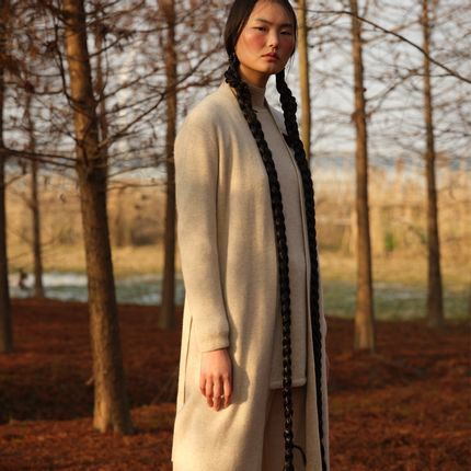 Homewear - Cashmere knitted long cardigan - SANDRIVER CASHMERE