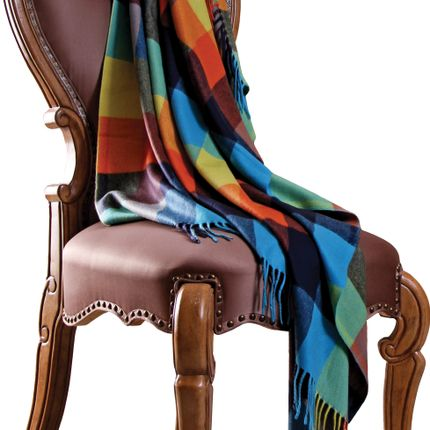 Throw blankets - Multi color block throw  - ERDENET CASHMERE