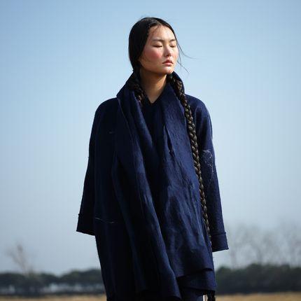 Foulards / écharpes - Écharpe en cachemire et feutre de soie fabriquée à la main - Bleu Mongolie - SANDRIVER CASHMERE
