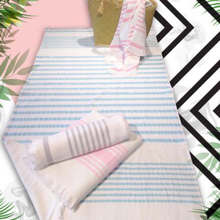 Bath towel - Foutah ASAGA Sponge Lined 90 x 160 cm 400 g/m² - LE COMPTOIR DE LA PLAGE