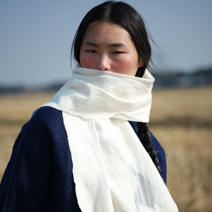 Scarves - Handcrafted cashmere and silk felt scarf - White - SANDRIVER CASHMERE