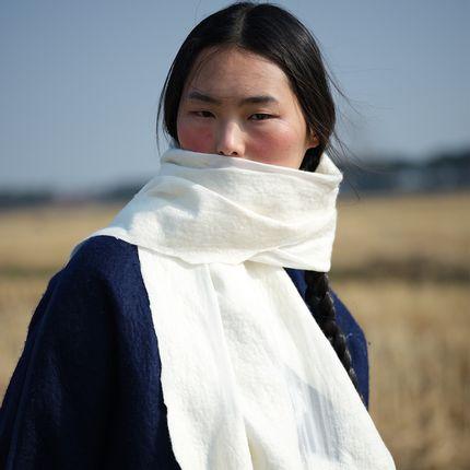 Foulards / écharpes - Foulard en cachemire et feutre de soie fabriqué à la main - Blanc - SANDRIVER CASHMERE