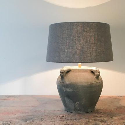 Table lamps - Grey pot lamp - THE SILK ROAD COLLECTION
