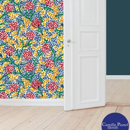 Wallpaper - Wallpaper Pointe-aux-Fleurs Custom Paper & Customizable - CAMILLE PIANEL MOTIFS