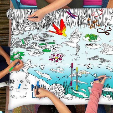 Table mat - colour & learn pond life tablecloth  - EATSLEEPDOODLE