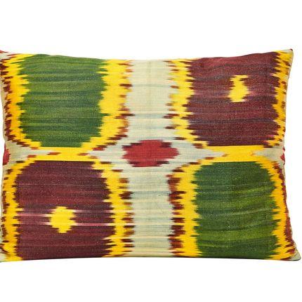 Coussins - Coussin Ikat en soie tissé à la main Primevère - HERITAGE GENEVE