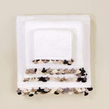 Linge de bain - Linge de bain en coton blanc avec pompons - MIA ZIA