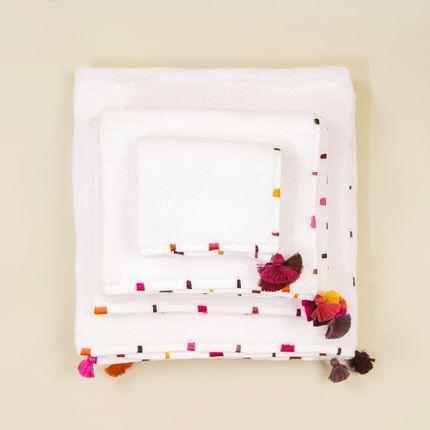 Linge de bain - Linge de bain en coton avec broderies et pompons - MIA ZIA
