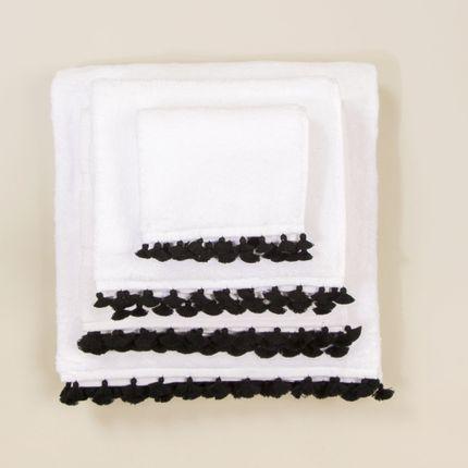 Linge de bain - Linge de bain en coton blanc avec pompons noirs - MIA ZIA