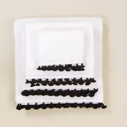Bath linens - White bath linen with black pompons - MIA ZIA