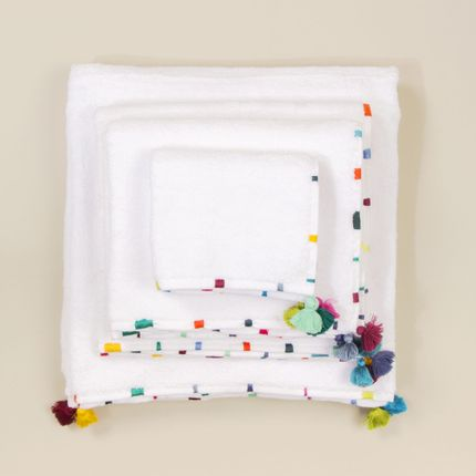 Bath linens - Bath linen in coton with embroideries and pompoms - MIA ZIA