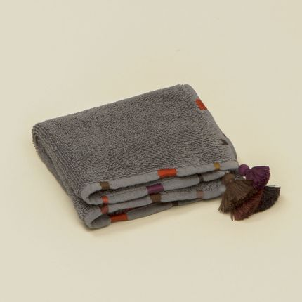 Bath linens - Dark grey towels with pompons and embroideries - MIA ZIA