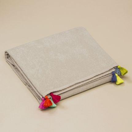 Bath linens - Cotton beach towel with pompons - MIA ZIA