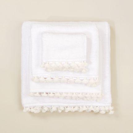 Linge de bain - Linge de bain en coton blanc avec pompons blancs - MIA ZIA