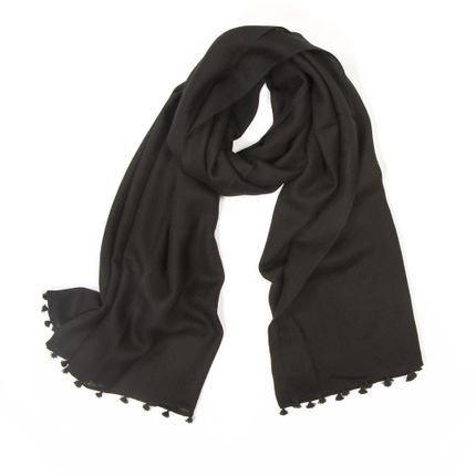 Foulards / écharpes - Echarpe d'hiver noire à pompons - MIA ZIA