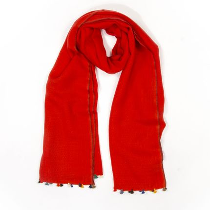 Scarves - Red winter scarf with multicoloured pompons - MIA ZIA
