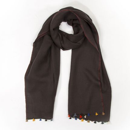 Scarves - Brown winter scarf with multicoloured pompons - MIA ZIA