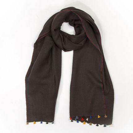 Foulards / écharpes - Echarpe d'hiver brune à pompons multicolores - MIA ZIA