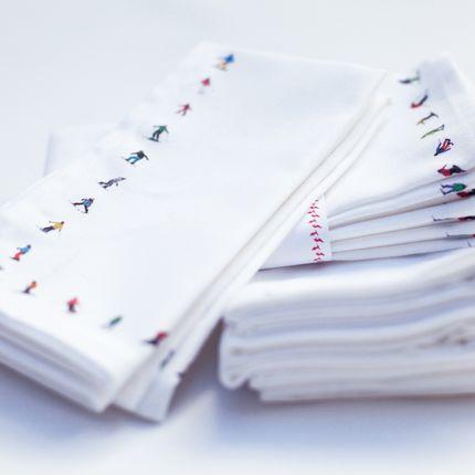 Serviettes - Serviettes de table en coton sur le thème du ski Poudrehound - POWDERHOUND