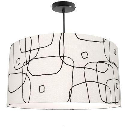 Hanging lights - Pendant lamp shade white graphic lines Ariane Pierre Frey -  SHĒDO