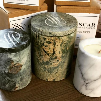 Candles - Marble candle medium - OSCAR CANDLES