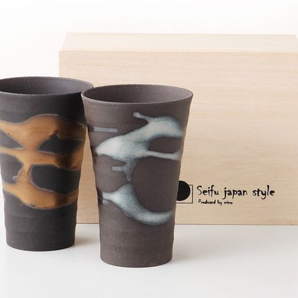 Tasses et mugs - Tasses japonaises par 2 ou par 5 - SHIROTSUKI / AKAZUKI JAPON