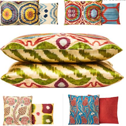 Cushions - Garden Of Beauty Silk Velvet Ikat Decorative Rectangular Cushion - HERITAGE GENEVE