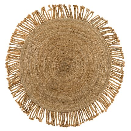 Contemporary - Handwoven round jute rug with braided fringes - LA MAISON DE LILO