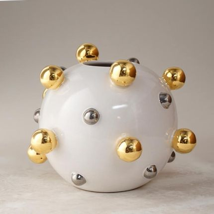 Ceramic - Round vase with golden spheres  - CERAMICA ND DOLFI