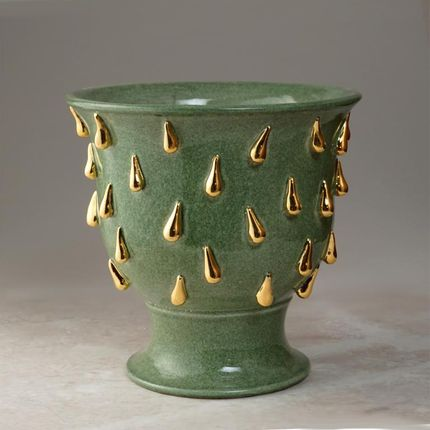 Ceramic - golden drops footed cache pot - CERAMICA ND DOLFI