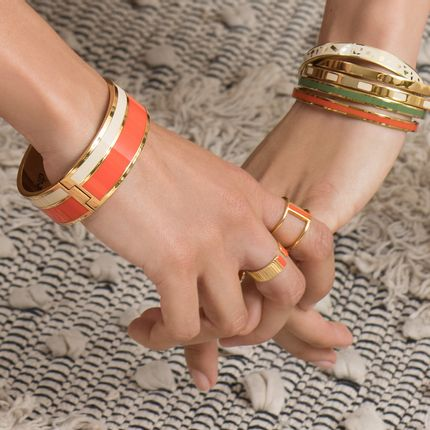 Bijoux - Bracelet Vaporetto -  Blanc sable/ tangerine - BANGLE UP