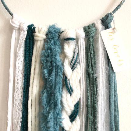 Wall decoration - Dreamcatcher / Pigeon blue, white & silver - LES LOVERS DECO
