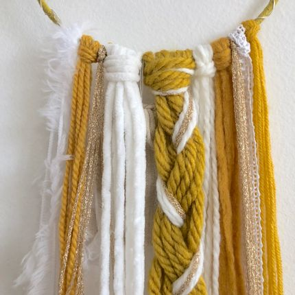Wall decoration - Dreamcatcher / Mustard yellow, white & gold - LES LOVERS DECO