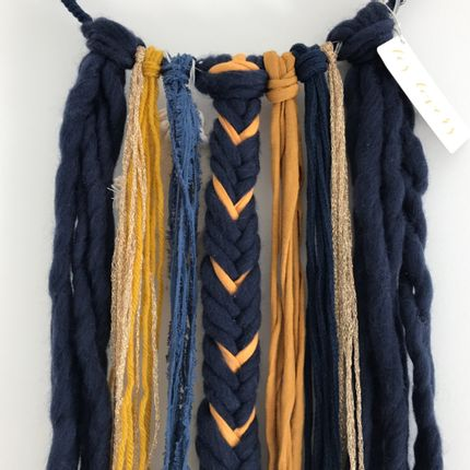 Wall decoration - Dreamcatcher / Yellow mustard, navy blue and gold - LES LOVERS DECO