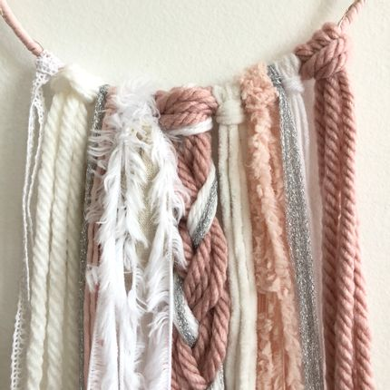 Wall decoration - Dreamcatcher / Pink, white & silver - LES LOVERS DECO